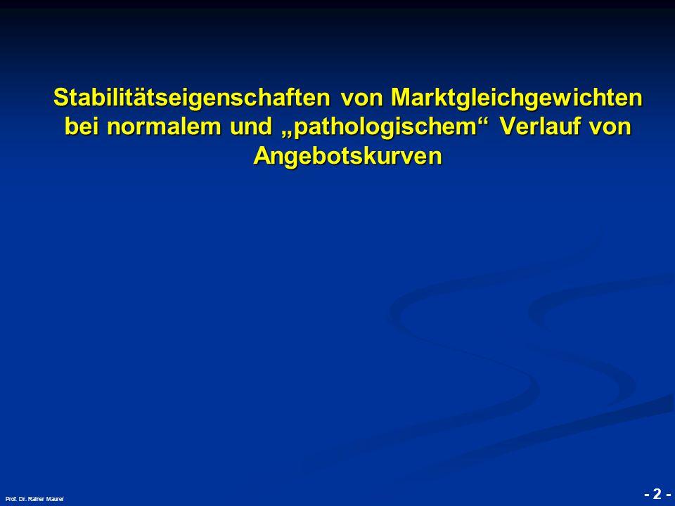 """© RAINER MAURER, Pforzheim - 2 - Prof. Dr. Rainer Maurer Stabilitätseigenschaften von Marktgleichgewichten bei normalem und """"pathologischem"""" Verlauf v"""