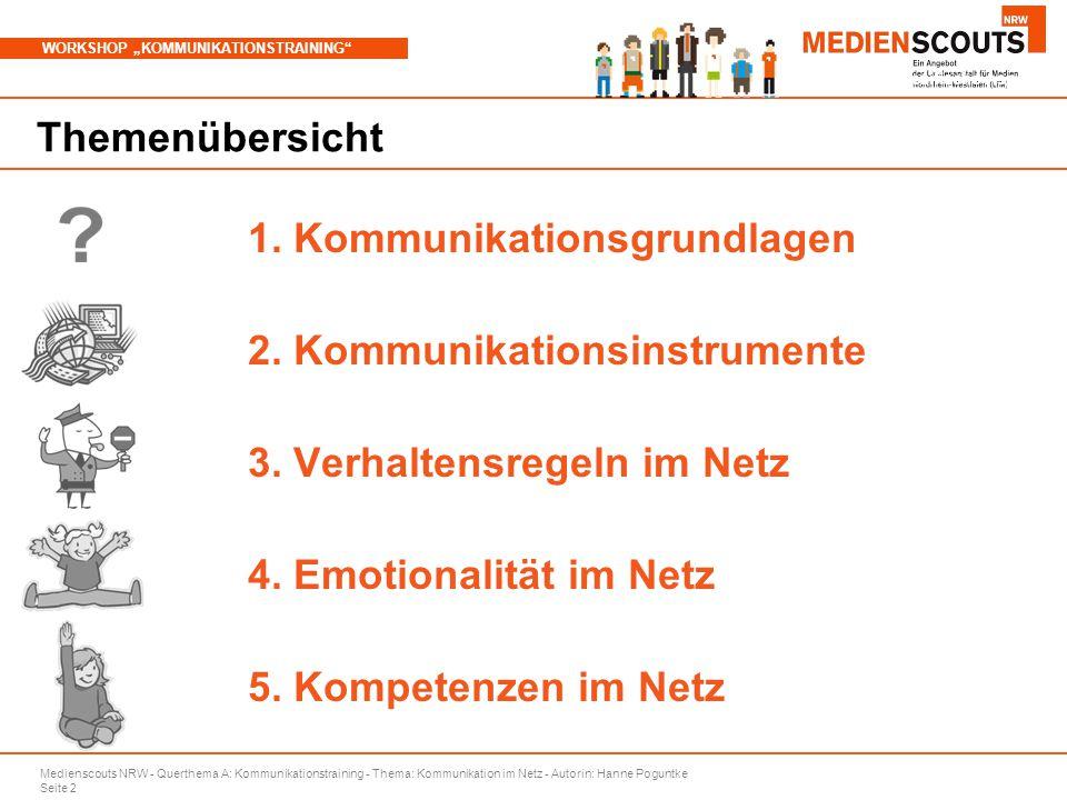 """Medienscouts NRW - Querthema A: Kommunikationstraining - Thema: Kommunikation im Netz - Autorin: Hanne Poguntke Seite 2 WORKSHOP """"KOMMUNIKATIONSTRAINING Branchenspezifische Aspekte Themenübersicht 1."""