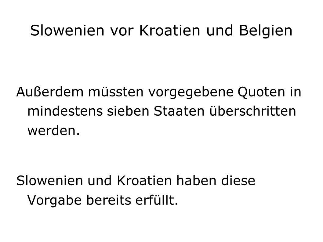 Slowenien vor Kroatien und Belgien Außerdem müssten vorgegebene Quoten in mindestens sieben Staaten überschritten werden.