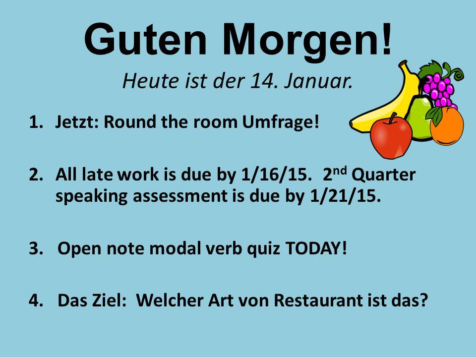 Guten Morgen. Heute ist der 14. Januar. 1.Jetzt: Round the room Umfrage.
