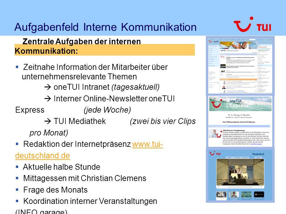 Aufgabenfeld Interne Kommunikation  Zeitnahe Information der Mitarbeiter über unternehmensrelevante Themen  oneTUI Intranet (tagesaktuell)  Interne