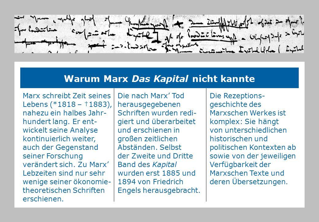 Warum Marx Das Kapital nicht kannte Marx schreibt Zeit seines Lebens (*1818 – †1883), nahezu ein halbes Jahr- hundert lang. Er ent- wickelt seine Anal