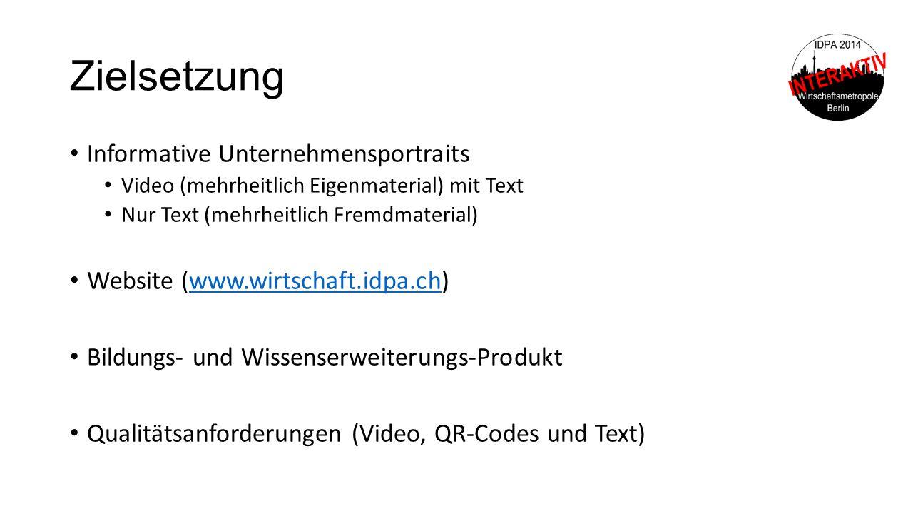 Zielsetzung Informative Unternehmensportraits Video (mehrheitlich Eigenmaterial) mit Text Nur Text (mehrheitlich Fremdmaterial) Website (www.wirtschaf