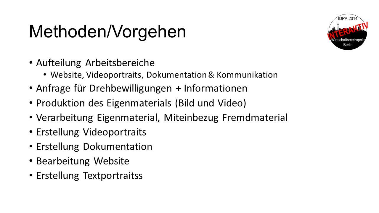 Methoden/Vorgehen Aufteilung Arbeitsbereiche Website, Videoportraits, Dokumentation & Kommunikation Anfrage für Drehbewilligungen + Informationen Prod