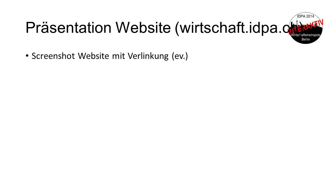 Präsentation Website (wirtschaft.idpa.ch) Screenshot Website mit Verlinkung (ev.)