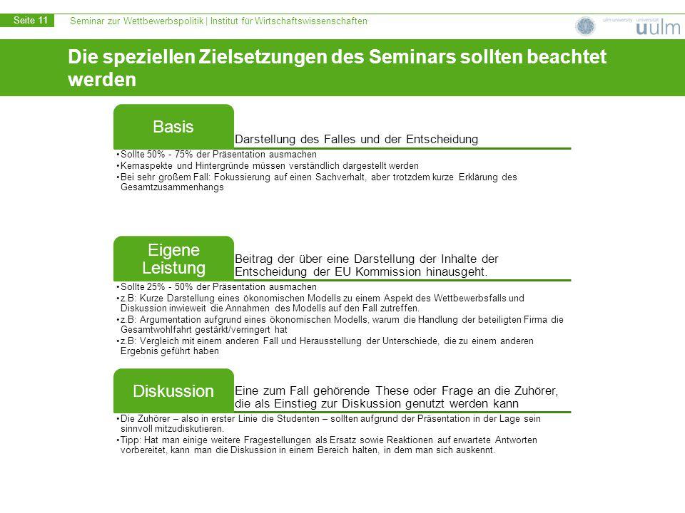 Seminar zur Wettbewerbspolitik | Institut für Wirtschaftswissenschaften Seite 11 Die speziellen Zielsetzungen des Seminars sollten beachtet werden Dar