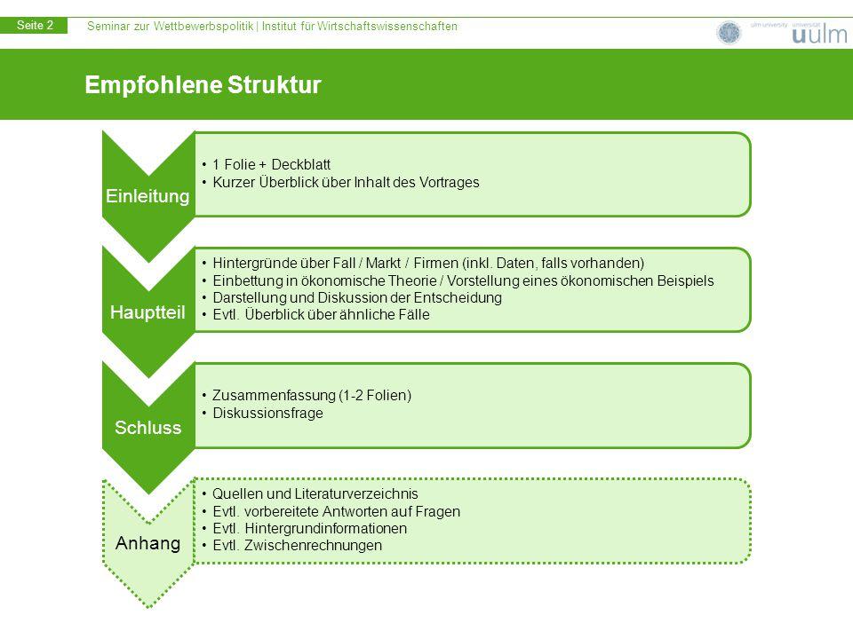 Seminar zur Wettbewerbspolitik | Institut für Wirtschaftswissenschaften Seite 2 Empfohlene Struktur Einleitung 1 Folie + Deckblatt Kurzer Überblick üb