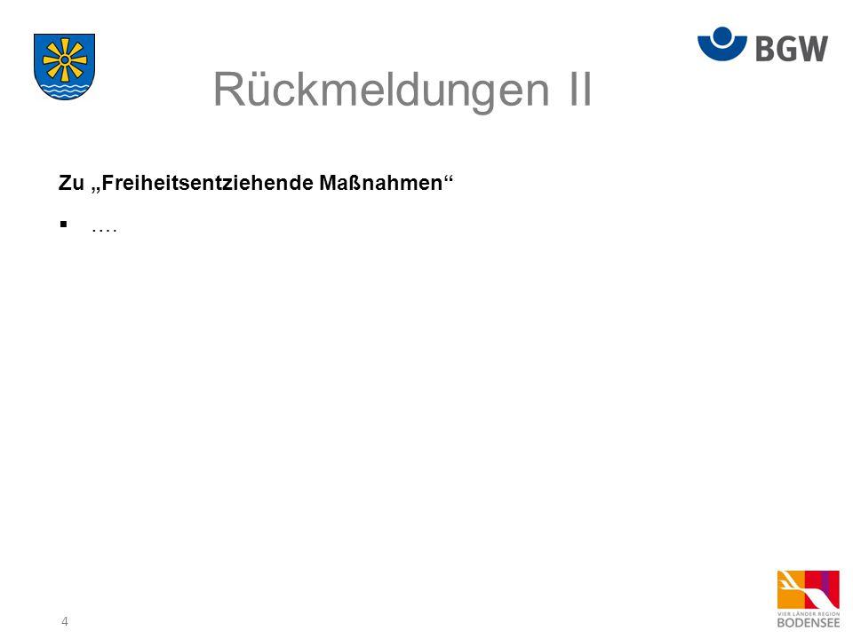 """4 Rückmeldungen II Zu """"Freiheitsentziehende Maßnahmen  …."""