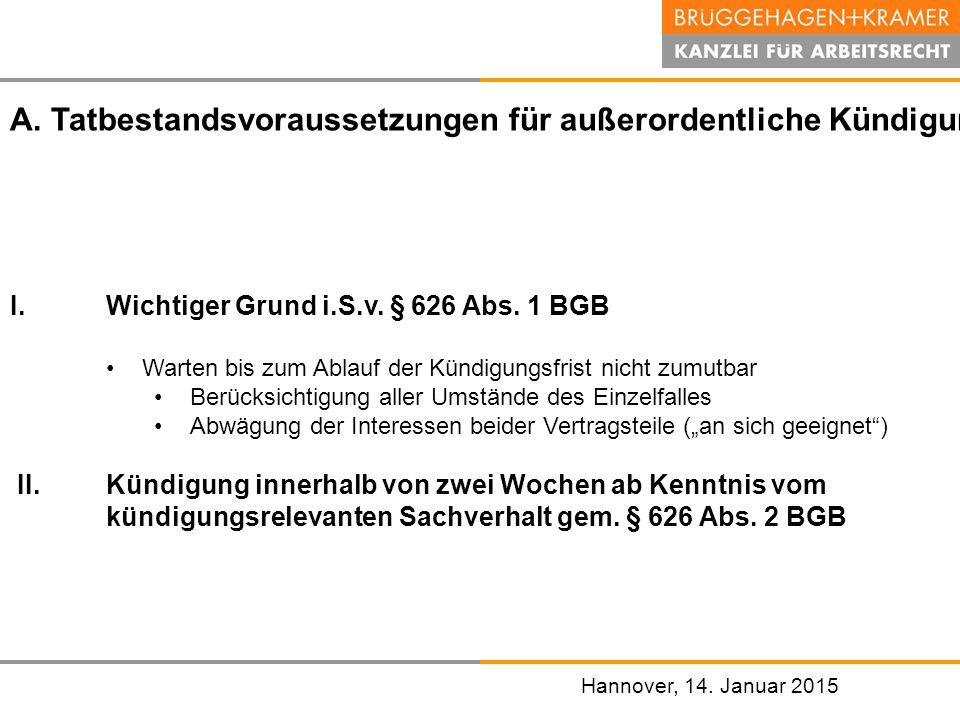 Hannover, den 07.November 2008 Hannover, 14. Januar 2015 I.