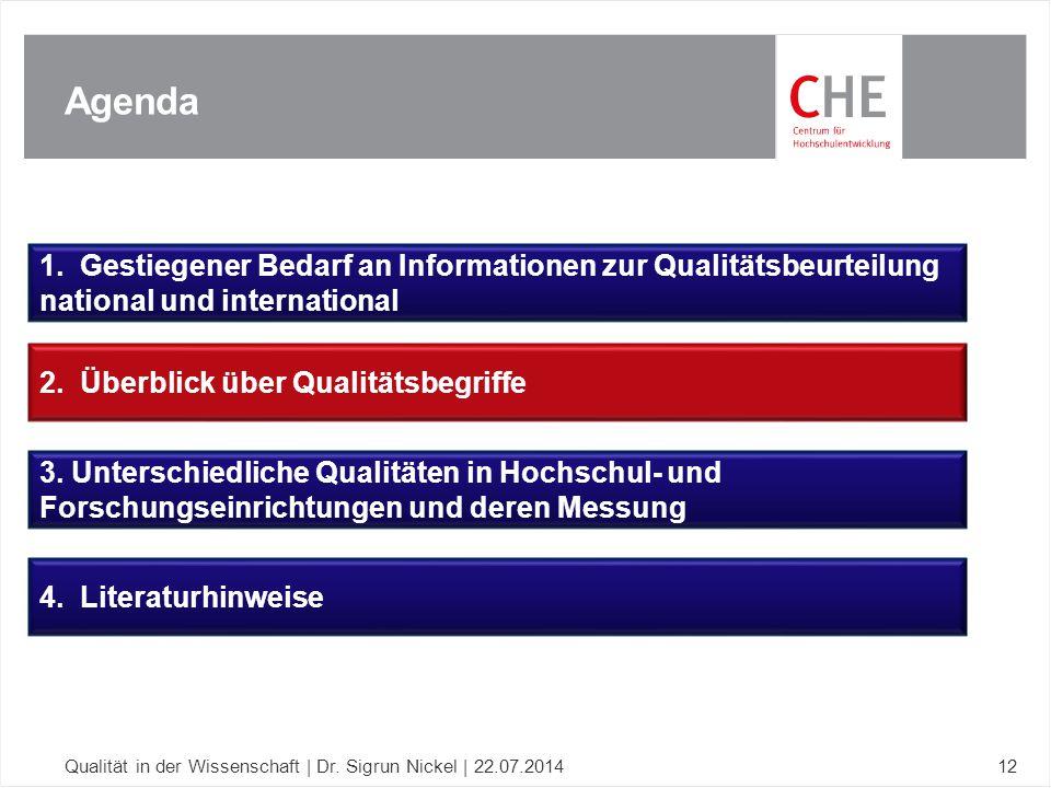 Agenda Qualität in der Wissenschaft | Dr. Sigrun Nickel | 22.07.201412 1. Gestiegener Bedarf an Informationen zur Qualitätsbeurteilung national und in