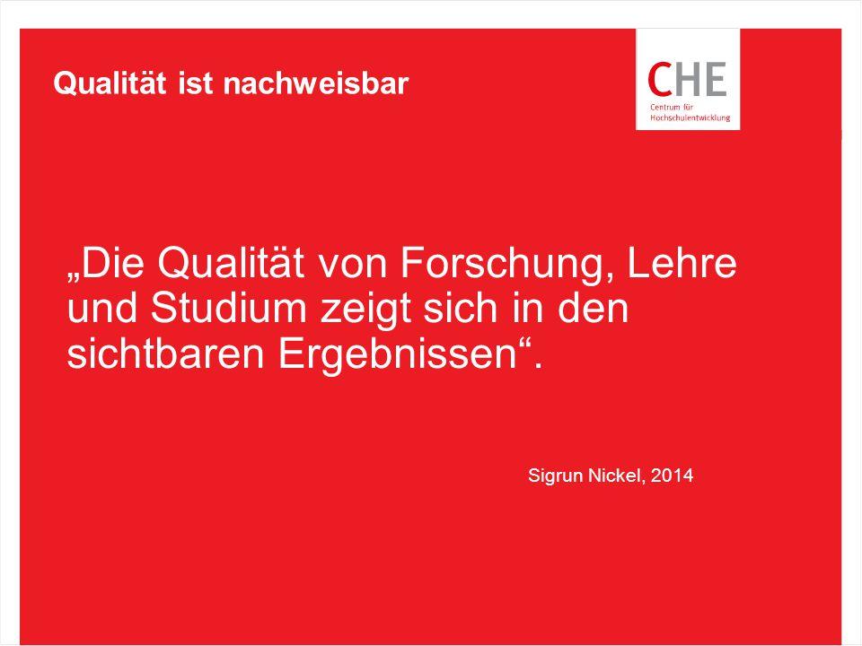 """""""Die Qualität von Forschung, Lehre und Studium zeigt sich in den sichtbaren Ergebnissen"""". Qualität ist nachweisbar Sigrun Nickel, 2014"""