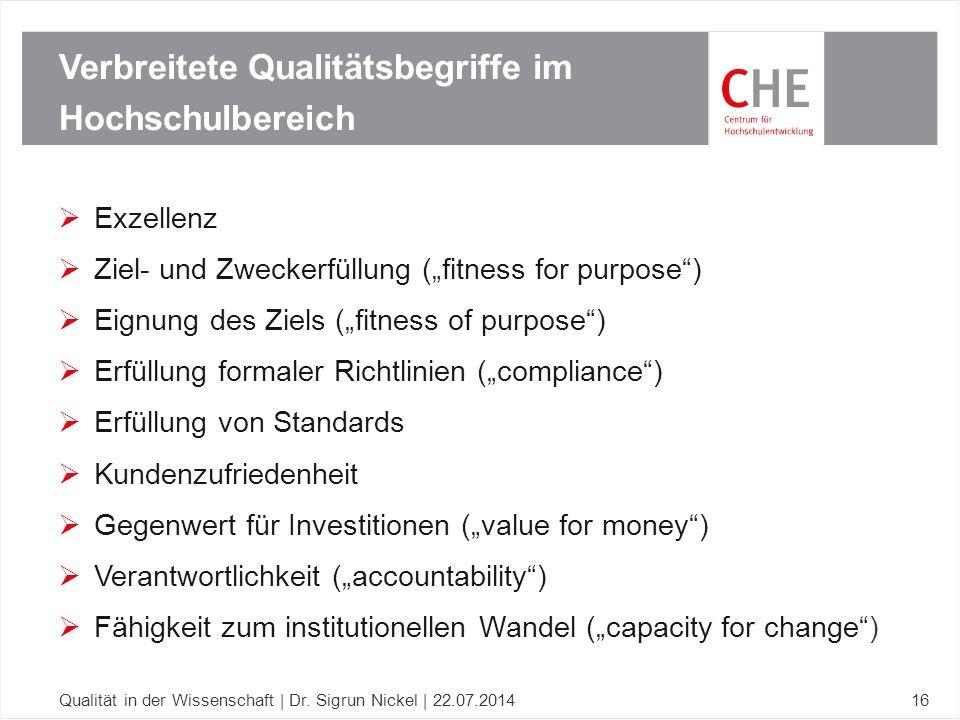 """ Exzellenz  Ziel- und Zweckerfüllung (""""fitness for purpose"""")  Eignung des Ziels (""""fitness of purpose"""")  Erfüllung formaler Richtlinien (""""complianc"""