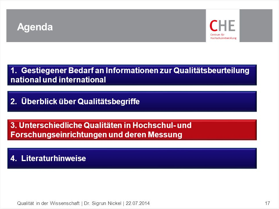 Agenda Qualität in der Wissenschaft | Dr. Sigrun Nickel | 22.07.201417 1. Gestiegener Bedarf an Informationen zur Qualitätsbeurteilung national und in