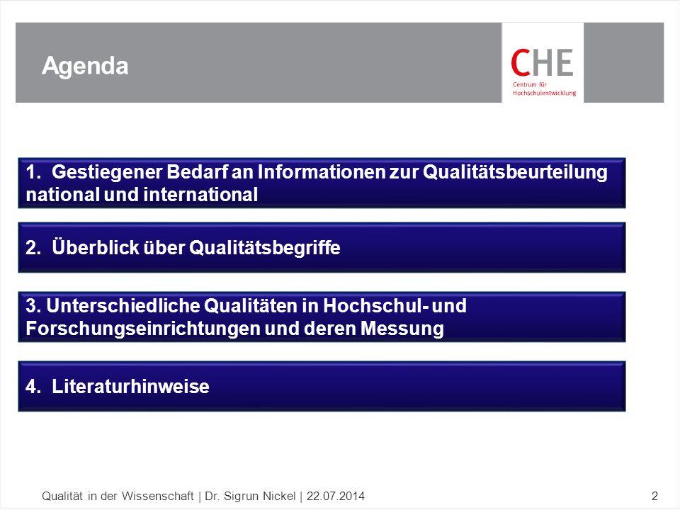 Agenda Qualität in der Wissenschaft | Dr. Sigrun Nickel | 22.07.20142 1. Gestiegener Bedarf an Informationen zur Qualitätsbeurteilung national und int