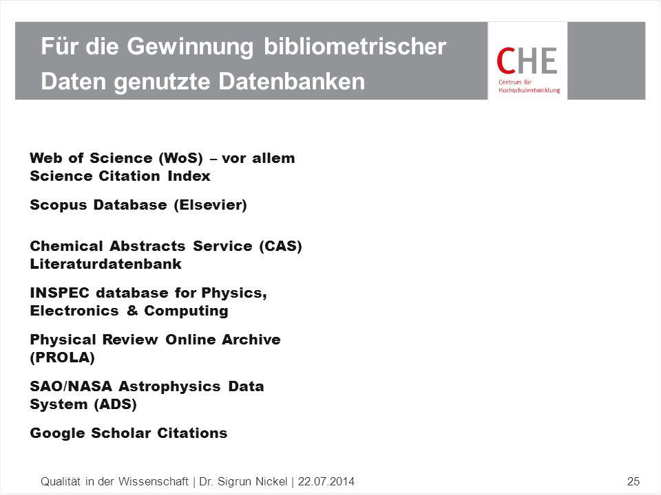 Für die Gewinnung bibliometrischer Daten genutzte Datenbanken Qualität in der Wissenschaft | Dr. Sigrun Nickel | 22.07.201425 Web of Science (WoS) – v