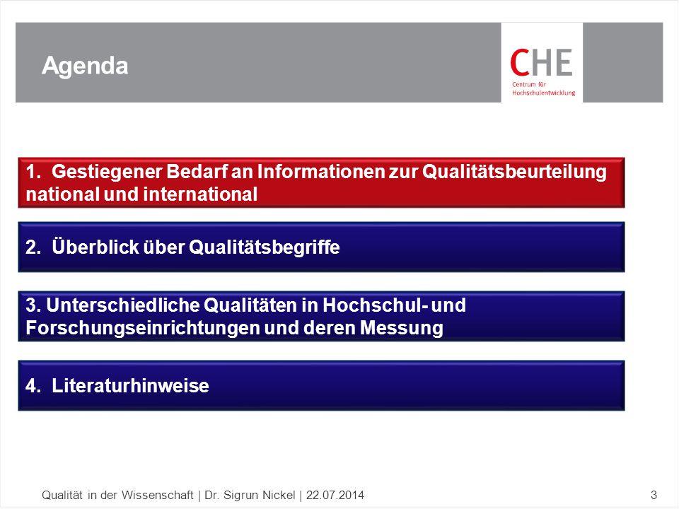 Agenda Qualität in der Wissenschaft | Dr. Sigrun Nickel | 22.07.20143 1. Gestiegener Bedarf an Informationen zur Qualitätsbeurteilung national und int
