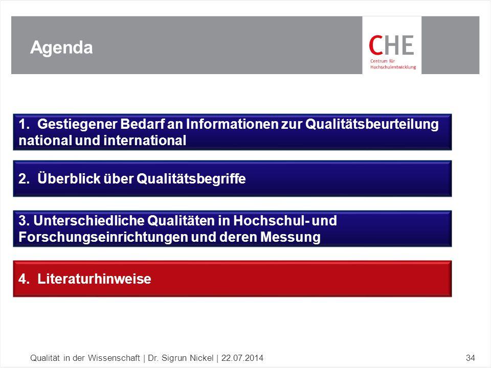 Agenda Qualität in der Wissenschaft | Dr. Sigrun Nickel | 22.07.201434 1. Gestiegener Bedarf an Informationen zur Qualitätsbeurteilung national und in