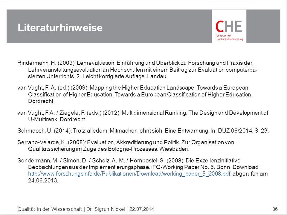 Rindermann, H. (2009): Lehrevaluation. Einführung und Überblick zu Forschung und Praxis der Lehrveranstaltungsevaluation an Hochschulen mit einem Beit
