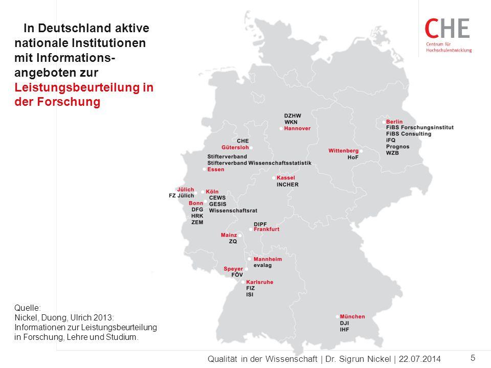 5 Qualität in der Wissenschaft | Dr. Sigrun Nickel | 22.07.2014 In Deutschland aktive nationale Institutionen mit Informations- angeboten zur Leistung