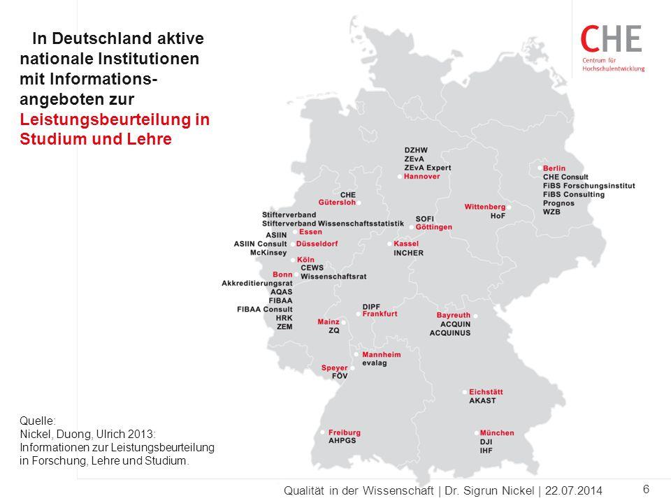 6 Qualität in der Wissenschaft | Dr. Sigrun Nickel | 22.07.2014 In Deutschland aktive nationale Institutionen mit Informations- angeboten zur Leistung