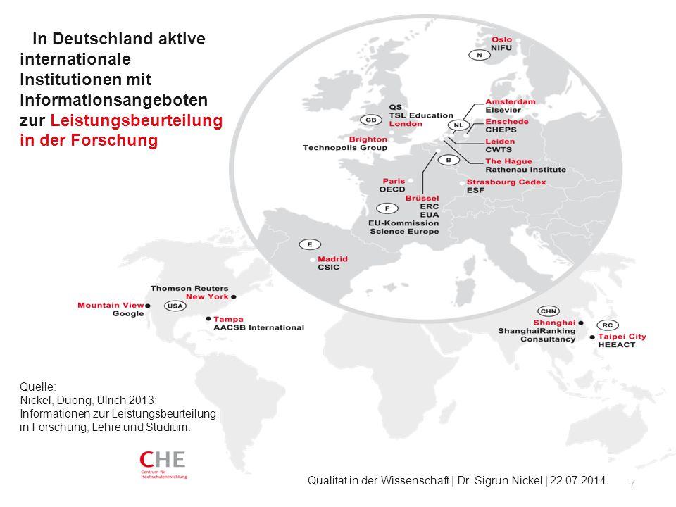 In Deutschland aktive internationale Institutionen mit Informationsangeboten zur Leistungsbeurteilung in der Forschung 7 Qualität in der Wissenschaft