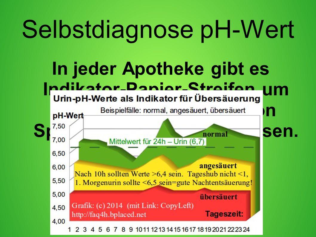 Selbstdiagnose pH-Wert In jeder Apotheke gibt es Indikator-Papier-Streifen um den eigenen pH-Wert von Speichel oder Urin zu messen.