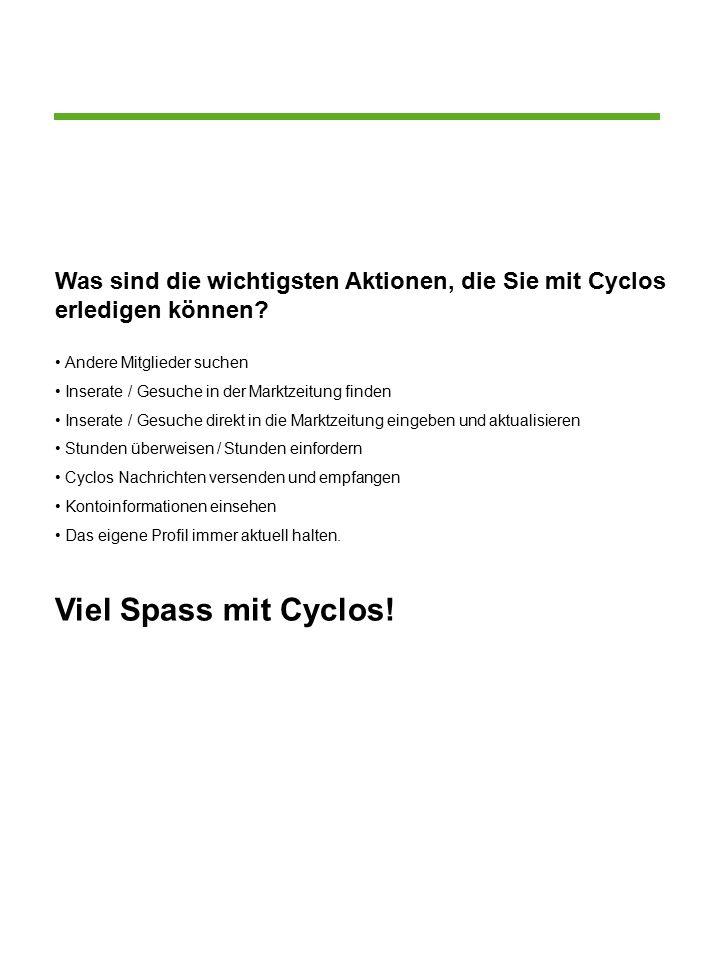 Was sind die wichtigsten Aktionen, die Sie mit Cyclos erledigen können.