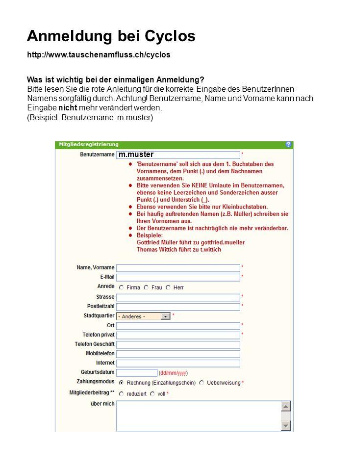 Anmeldung bei Cyclos m.muster Was ist wichtig bei der einmaligen Anmeldung.