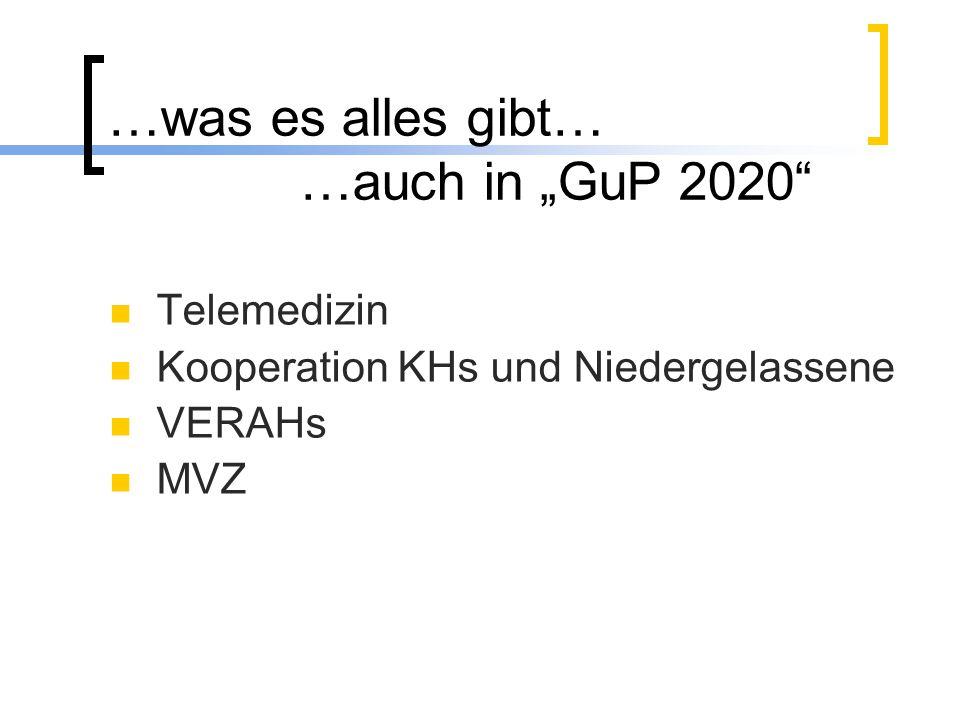 """…was es alles gibt… …auch in """"GuP 2020 Telemedizin Kooperation KHs und Niedergelassene VERAHs MVZ"""