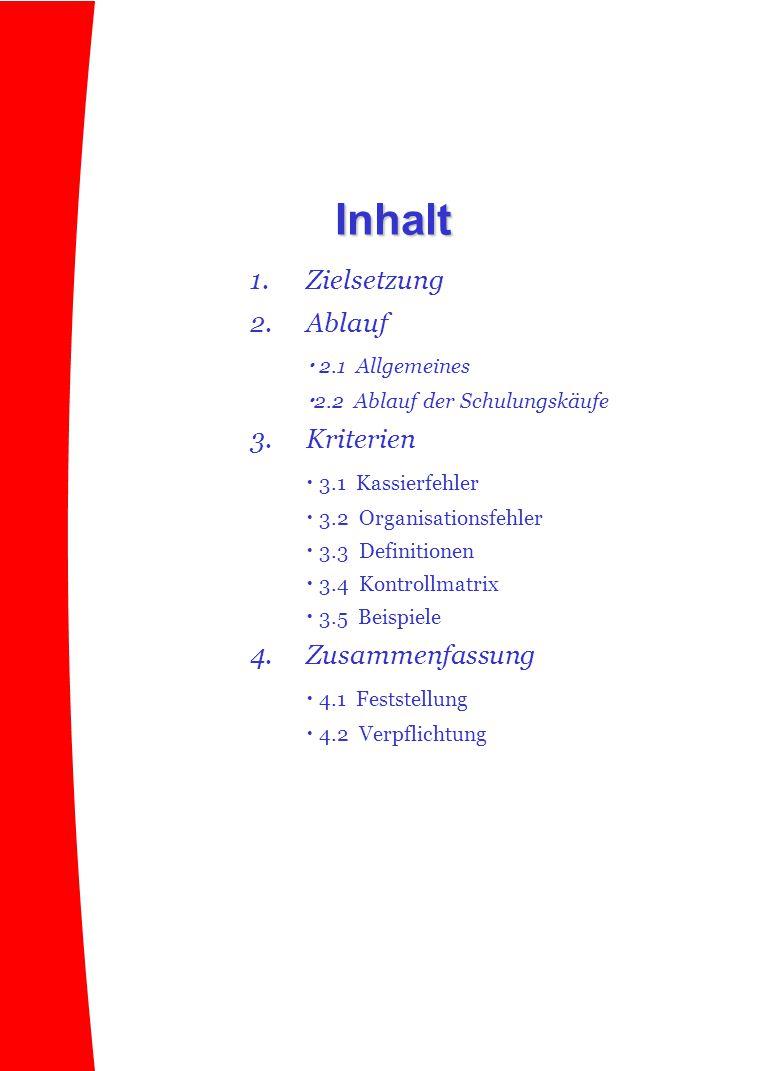 1.Zielsetzung 2.Ablauf  2.1 Allgemeines  2.2 Ablauf der Schulungskäufe 3.Kriterien  3.1 Kassierfehler  3.2 Organisationsfehler  3.3 Definitionen