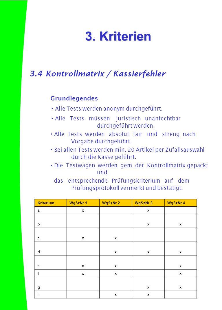3.4Kontrollmatrix / Kassierfehler Grundlegendes  Alle Tests werden anonym durchgeführt.  Alle Tests müssen juristisch unanfechtbar durchgeführt werd