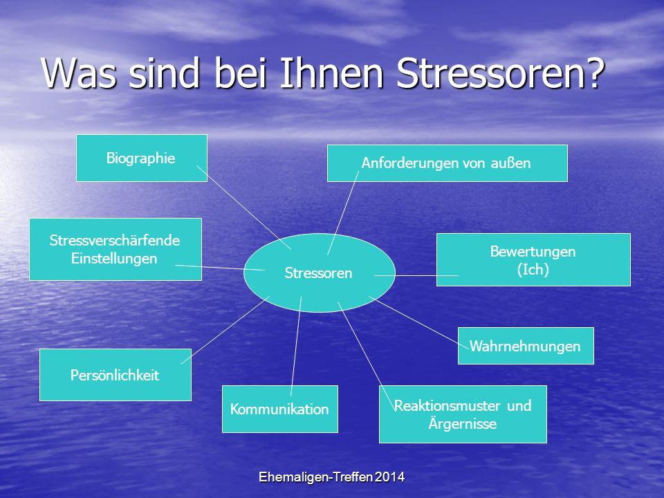 Ehemaligen-Treffen 2014 Was sind bei Ihnen Stressoren? Stressoren Biographie Anforderungen von außen Bewertungen (Ich) Wahrnehmungen Stressverschärfen