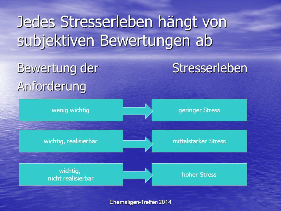 Ehemaligen-Treffen 2014 Jedes Stresserleben hängt von subjektiven Bewertungen ab Bewertung der Stresserleben Anforderung wenig wichtig wichtig, realis