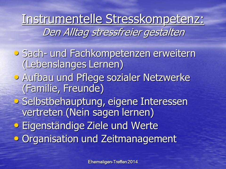 Ehemaligen-Treffen 2014 Instrumentelle Stresskompetenz: Den Alltag stressfreier gestalten Sach- und Fachkompetenzen erweitern (Lebenslanges Lernen) Sa