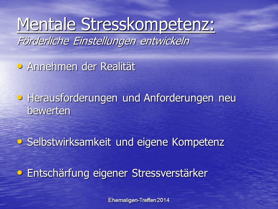 Ehemaligen-Treffen 2014 Mentale Stresskompetenz: Förderliche Einstellungen entwickeln Annehmen der Realität Annehmen der Realität Herausforderungen un