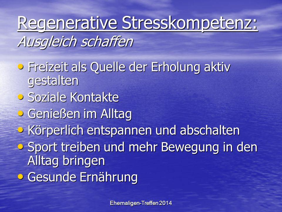 Ehemaligen-Treffen 2014 Regenerative Stresskompetenz: Ausgleich schaffen Freizeit als Quelle der Erholung aktiv gestalten Freizeit als Quelle der Erho