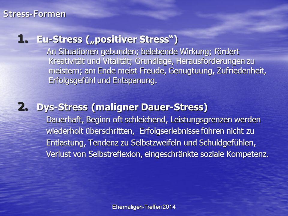 "Ehemaligen-Treffen 2014Stress-Formen 1. Eu-Stress (""positiver Stress"") An Situationen gebunden; belebende Wirkung; fördert Kreativität und Vitalität;"
