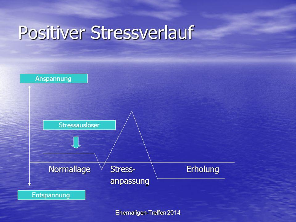 Ehemaligen-Treffen 2014 Negativer Stressverlauf Normallage Stress- Erholung fehlt Normallage Stress- Erholung fehlt anpassung anpassung Entspannung Anspannung Stressauslöser