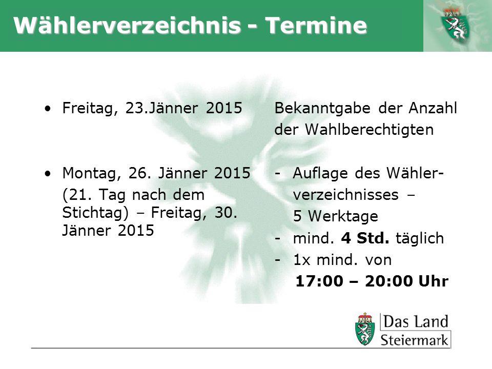 Autor Wählerverzeichnis - Termine Freitag, 23.Jänner 2015 Montag, 26.