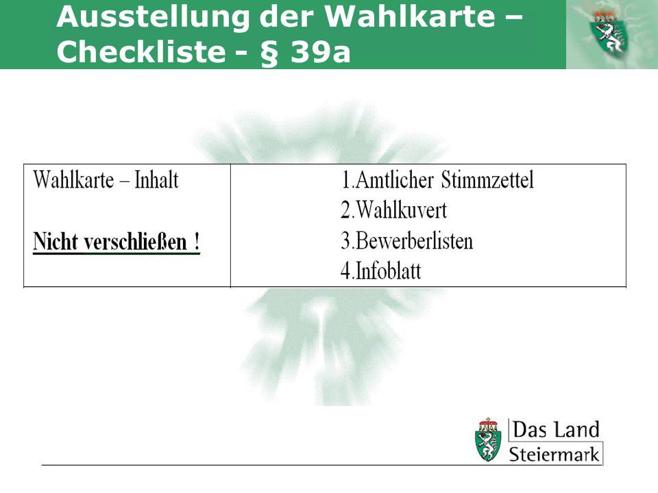 Autor Ausstellung der Wahlkarte – Checkliste - § 39a