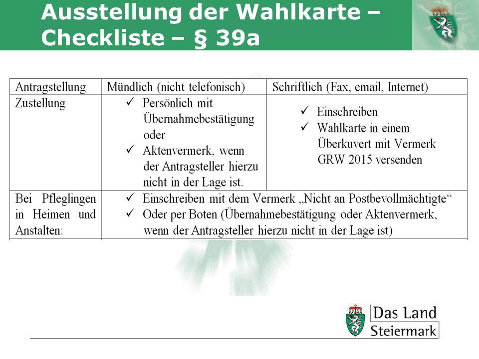 Autor Ausstellung der Wahlkarte – Checkliste – § 39a