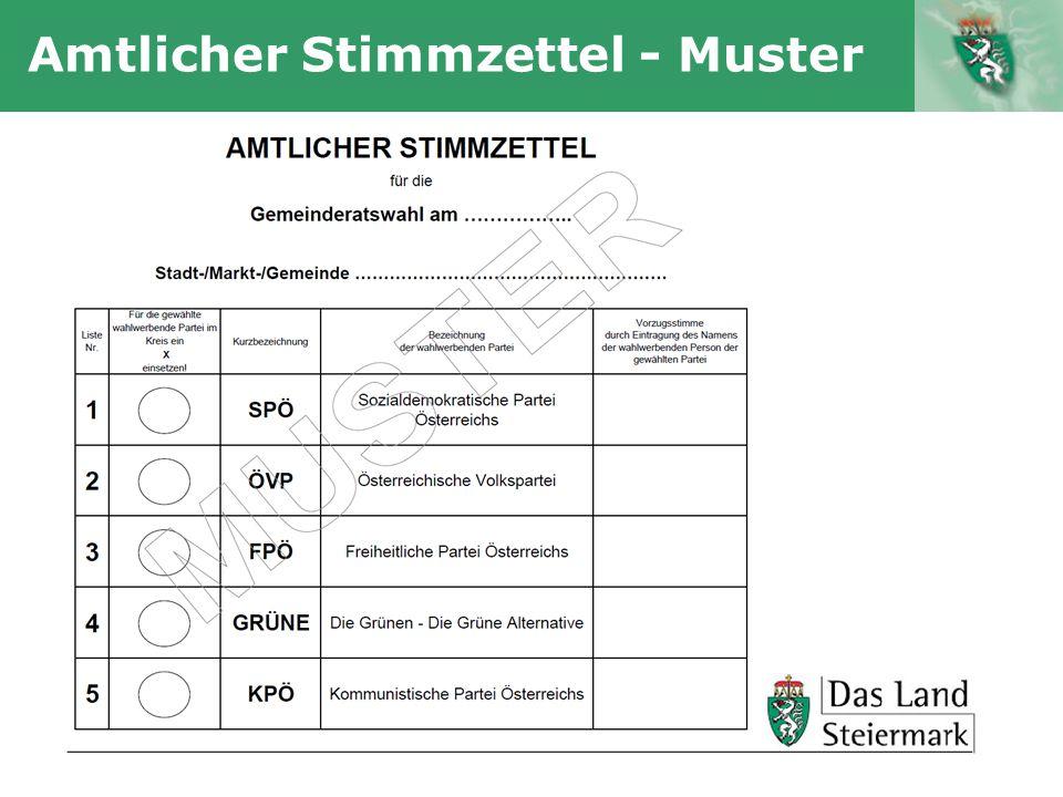 Autor Amtlicher Stimmzettel - Muster