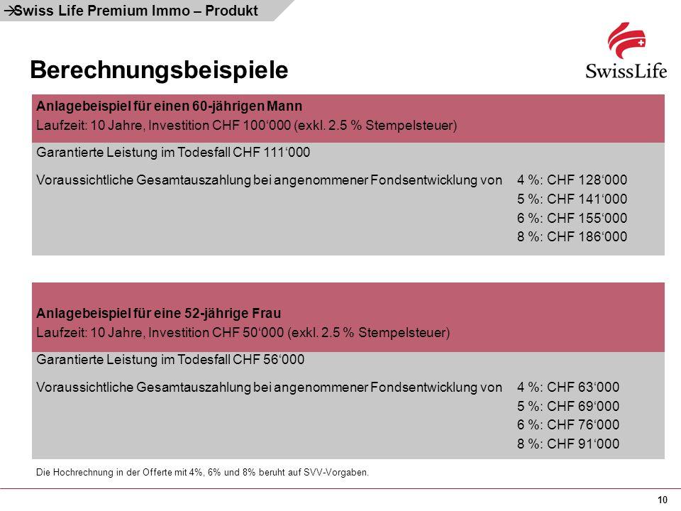 10 Berechnungsbeispiele  Swiss Life Premium Immo – Produkt Anlagebeispiel für einen 60-jährigen Mann Laufzeit: 10 Jahre, Investition CHF 100'000 (exk