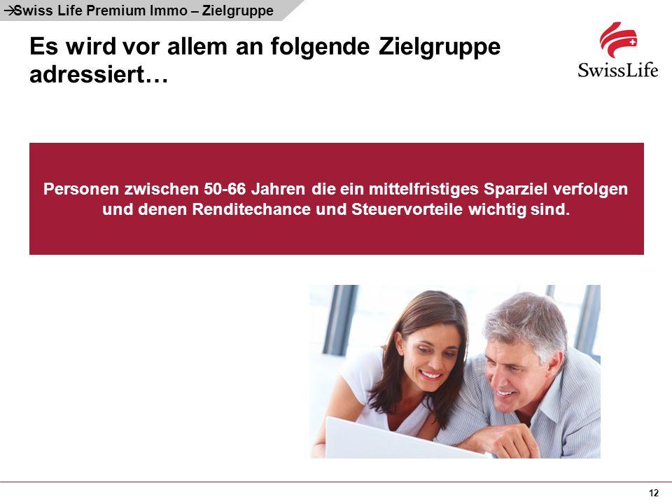 12 Es wird vor allem an folgende Zielgruppe adressiert… Personen zwischen 50-66 Jahren die ein mittelfristiges Sparziel verfolgen und denen Renditecha