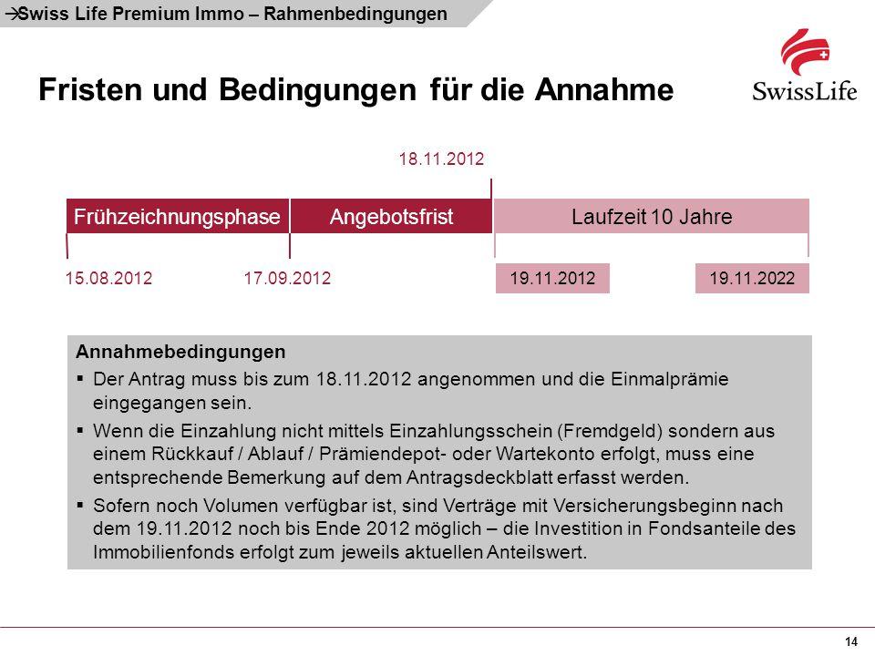 14 Fristen und Bedingungen für die Annahme Annahmebedingungen  Der Antrag muss bis zum 18.11.2012 angenommen und die Einmalprämie eingegangen sein. 