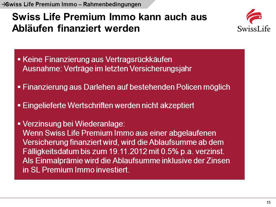 15 Swiss Life Premium Immo kann auch aus Abläufen finanziert werden  Keine Finanzierung aus Vertragsrückkäufen Ausnahme: Verträge im letzten Versiche