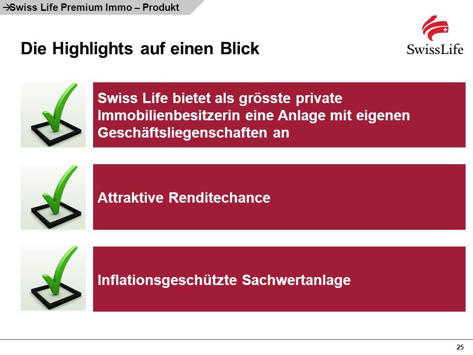 25 Die Highlights auf einen Blick Swiss Life bietet als grösste private Immobilienbesitzerin eine Anlage mit eigenen Geschäftsliegenschaften an Attrak