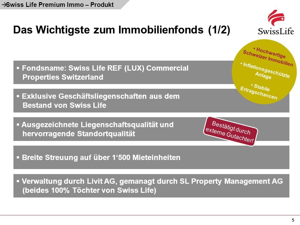55 Das Wichtigste zum Immobilienfonds (1/2)  Swiss Life Premium Immo – Produkt  Verwaltung durch Livit AG, gemanagt durch SL Property Management AG