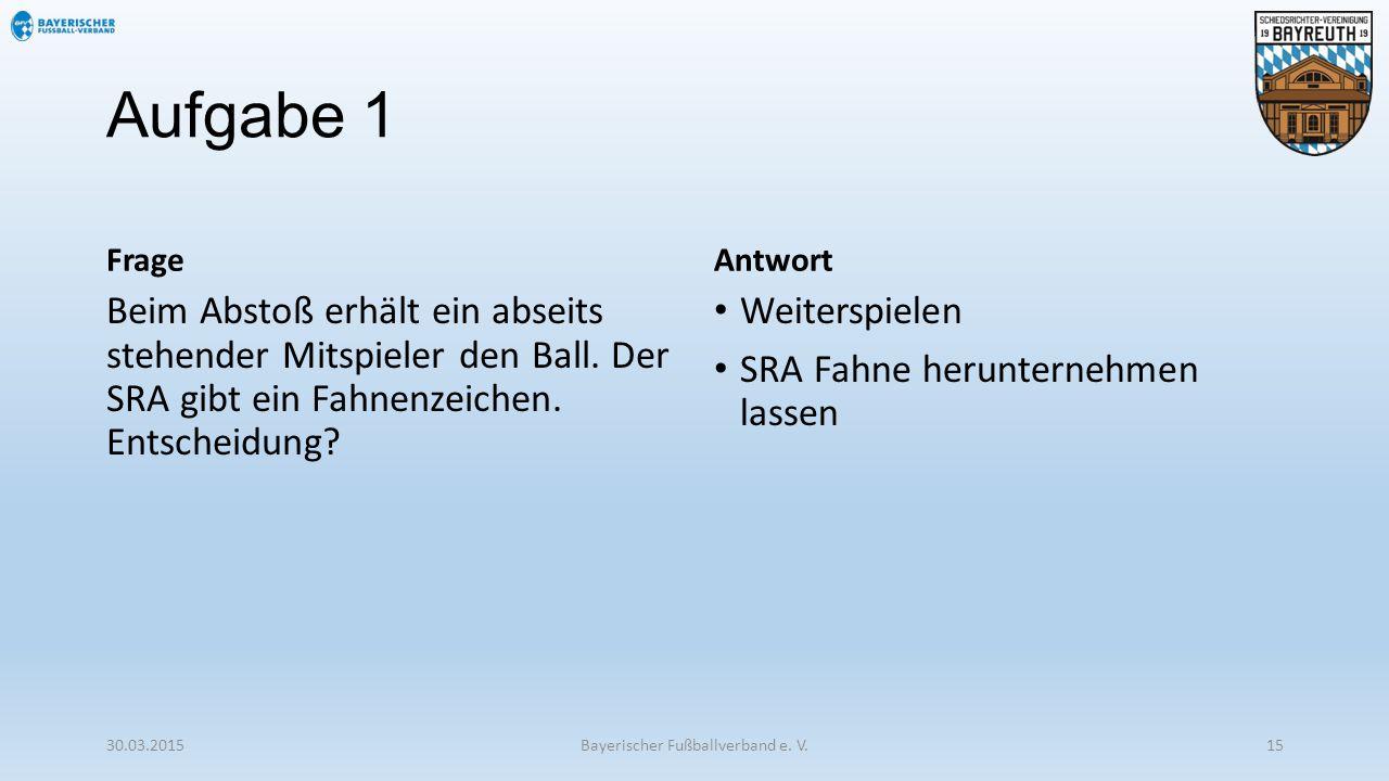 Aufgabe 1 Frage Beim Abstoß erhält ein abseits stehender Mitspieler den Ball. Der SRA gibt ein Fahnenzeichen. Entscheidung? Antwort Weiterspielen SRA