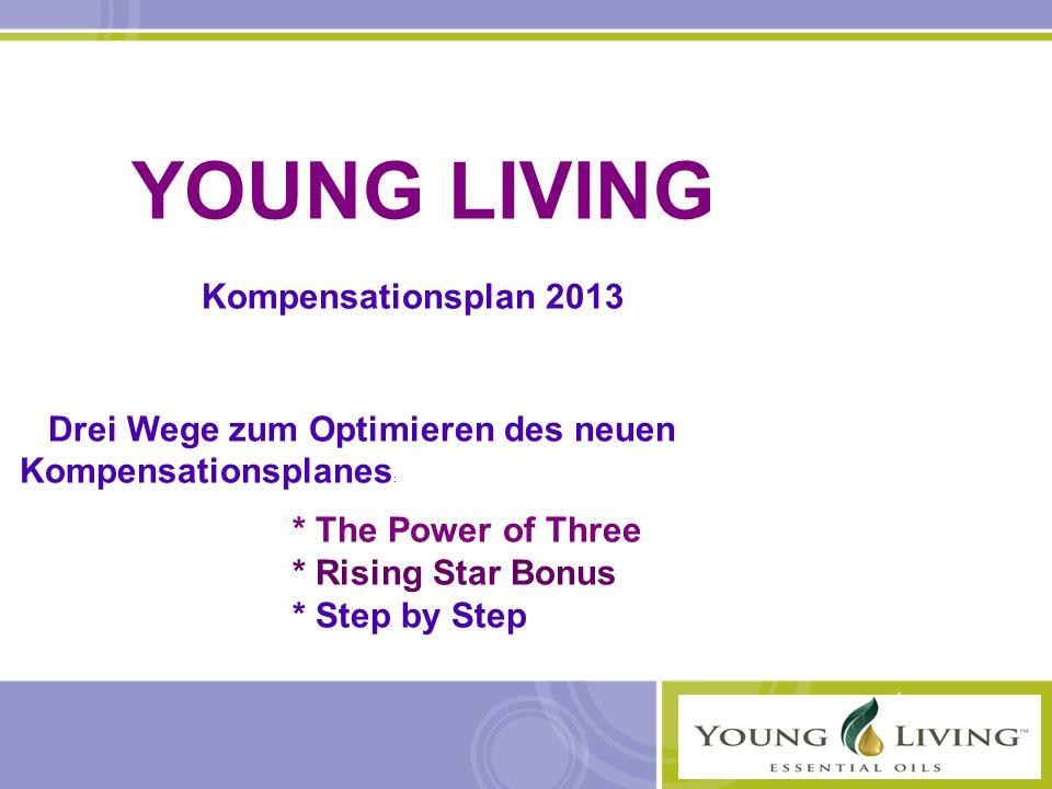 YOUNG LIVING Kompensationsplan 2013 Drei Wege zum Optimieren des neuen Kompensationsplanes : * The Power of Three * Rising Star Bonus * Step by Step